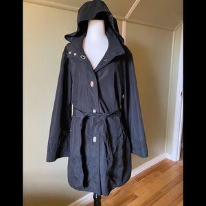 Black Trench Style Coat Plus Size